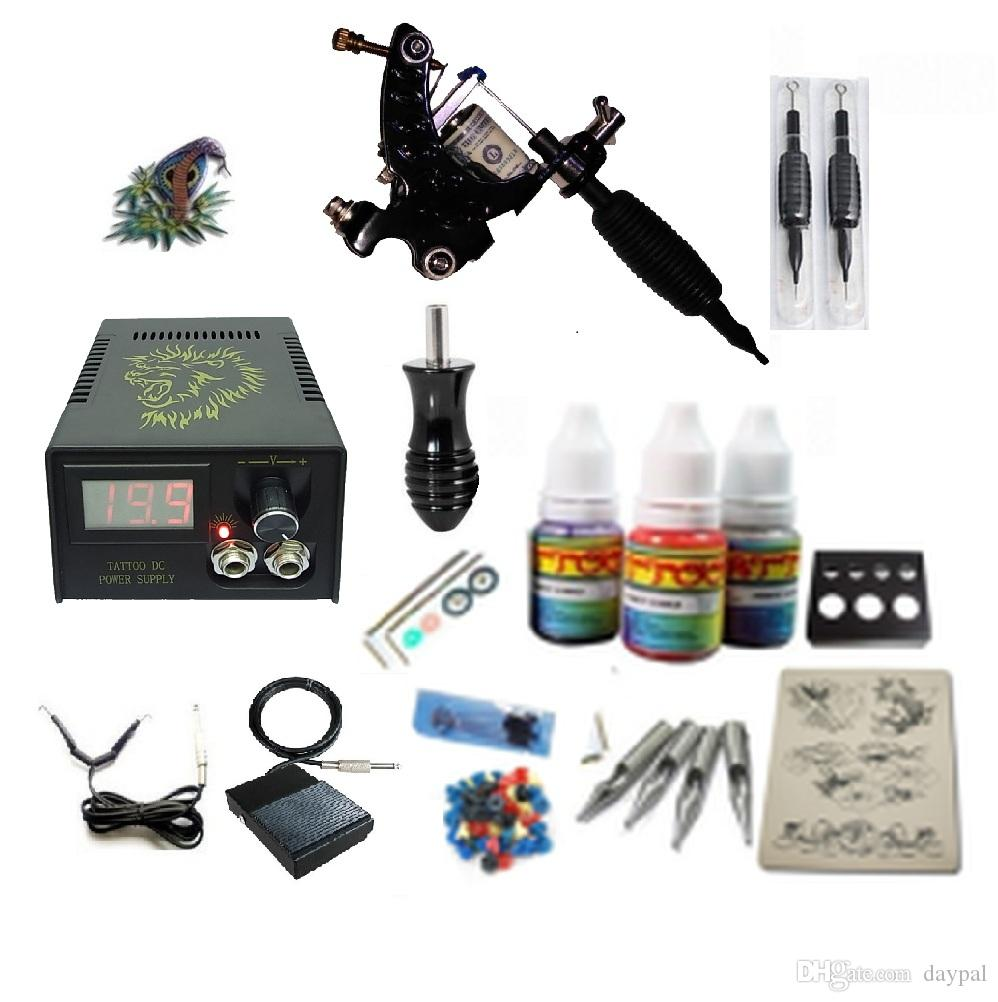 Beginner Tattoo Kit 1 Rotary Machine 3 Inks Sets Power Supply ...