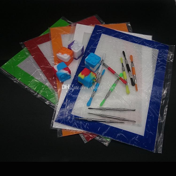 Silikon-Kit-Set mit Silikon-Tupfen-Mat-Auflage 7ml quadratische Behälter für Wachs-Tupfengläser rostfrei und Goldtitan-Dabber-Werkzeug