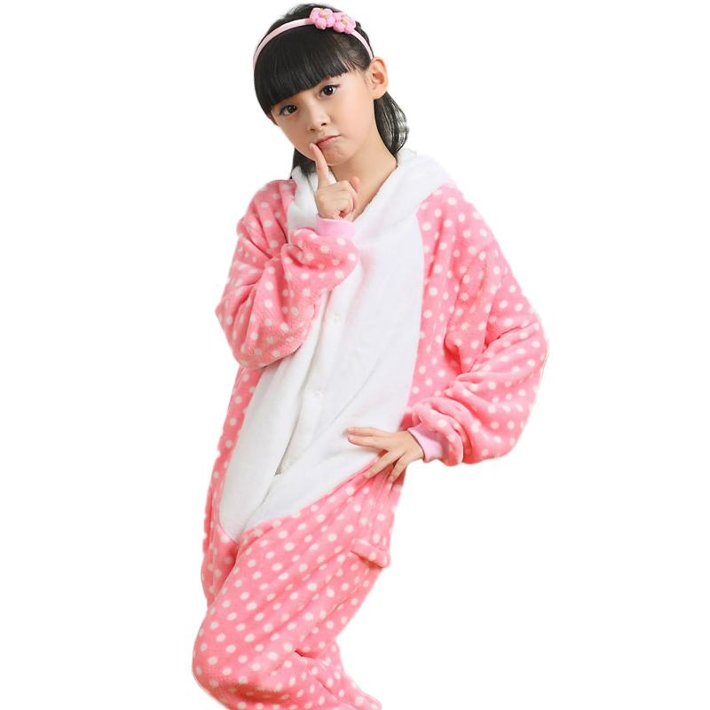 2017 Girls Pajamas Flannel Hello Cartoon Animals Cat Pyjamas For ...
