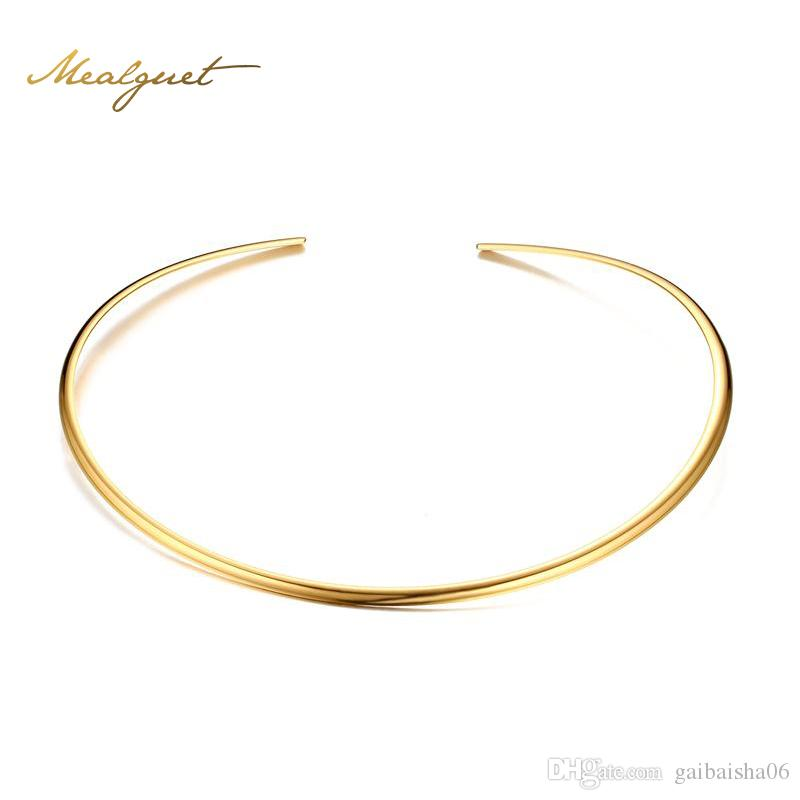Meaeguet Gold-Color Open Torques Necklaces Fashion Stainless Steel Choker For Women Party Jewelry Summer Style NC-224G