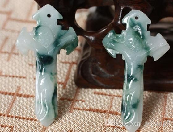 Сейко полихроматический нефрит крест Иисуса Христа. (талисман) повезло кулон ожерелье