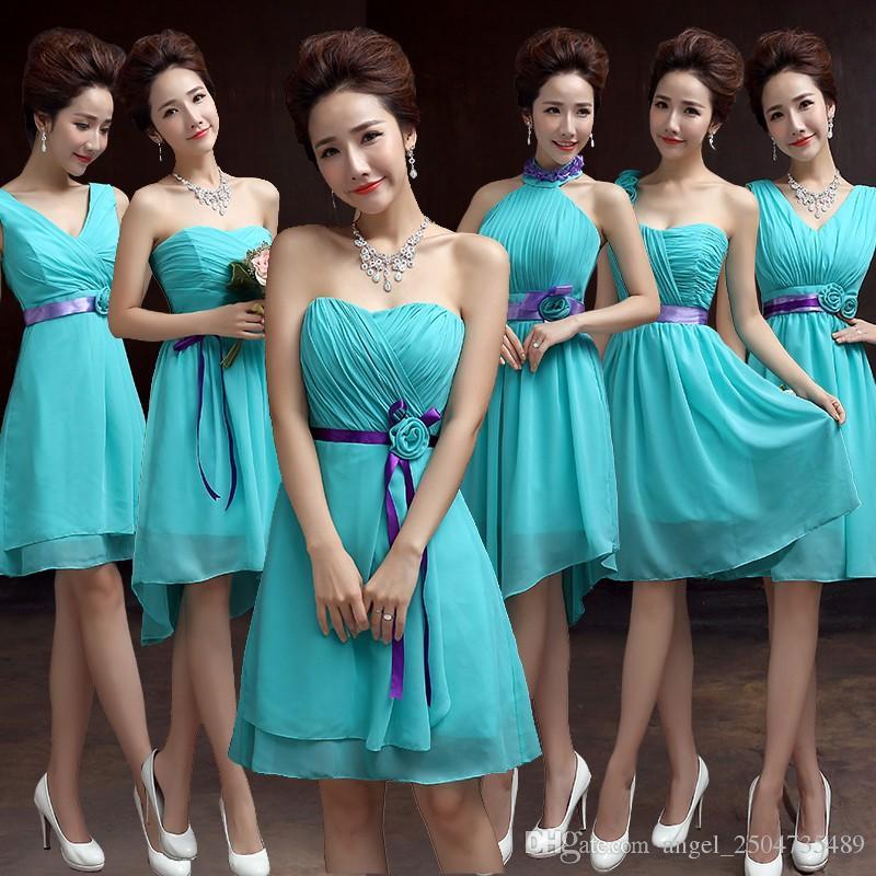 Compre Vestidos De Dama De Honor Cortos Gasa Vestido Azul Turquesa Para Bodas Vestido De Dama De Honor Vestido De Dama De Honor 2017 Barato Caliente