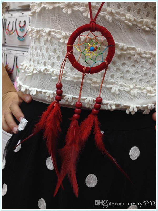 Długi design Tassel Naszyjnik z piór Indian Dream Catcher Naszyjnik