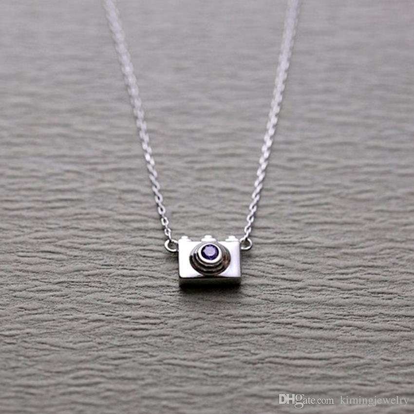 5pcs/lot 925 Sterling Silver Statement Necklaces Mini Camera Shape Pendants&Necklaces Women Trendy Jewelry collier en argent