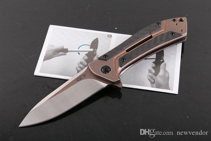 New ZT ZT0801CF Flipper Folding Knife D2 60HRC Satin Blade TC4 Titanium Alloy&Carbon Fiber Handle Ball Bearing System EDC Pocket Knives