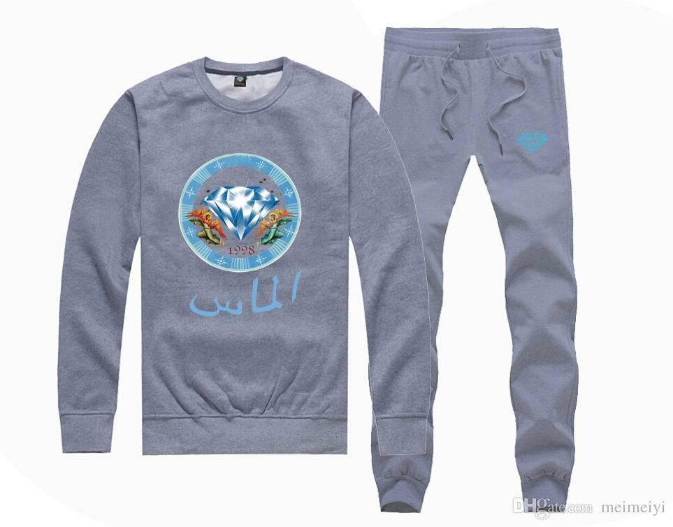 M5815 Sıcak satış Elmas Tedarik Tişörtü + Erkekler ve Kadınlar için PANTOLON suit Polar Astarlı Hip Hop Kaykay Eşofman S-5XL