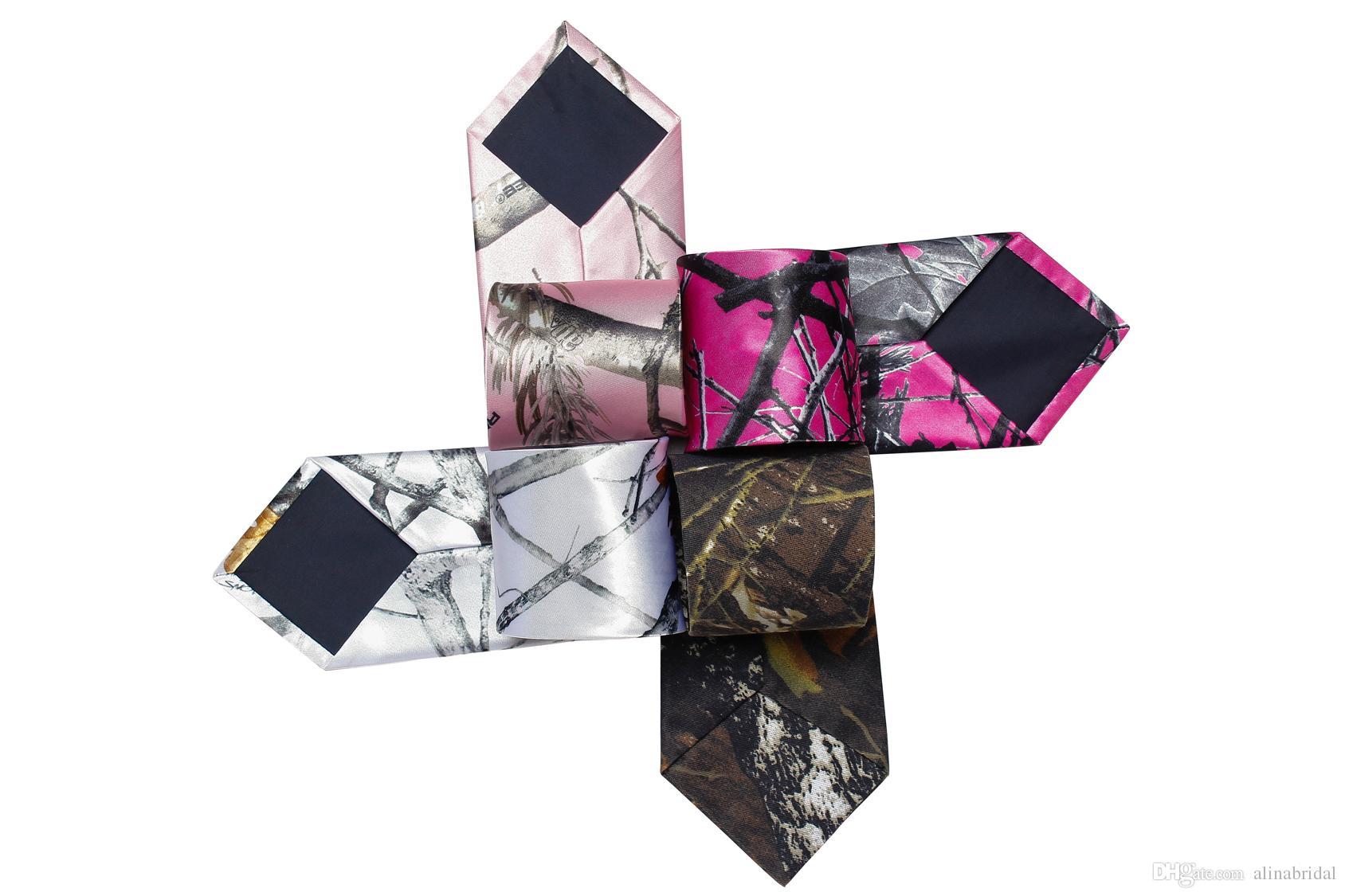 2018 Moda Camo Neck Noivo gravata Árvore Real neckTie camo pescoço gravata camuflagem Noivo Desgaste acessórios multi cor Um tamanho Comprimento 140 CM