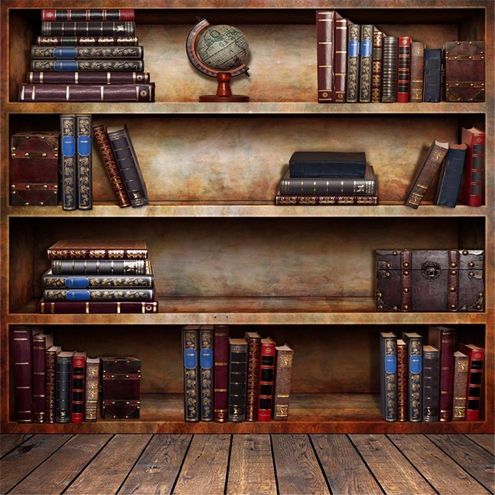 5x7ft Vintage BookShelf Stagione Fotografia Fondali Pavimento in legno Retro Style Immagine bambini Sfondo per Studio