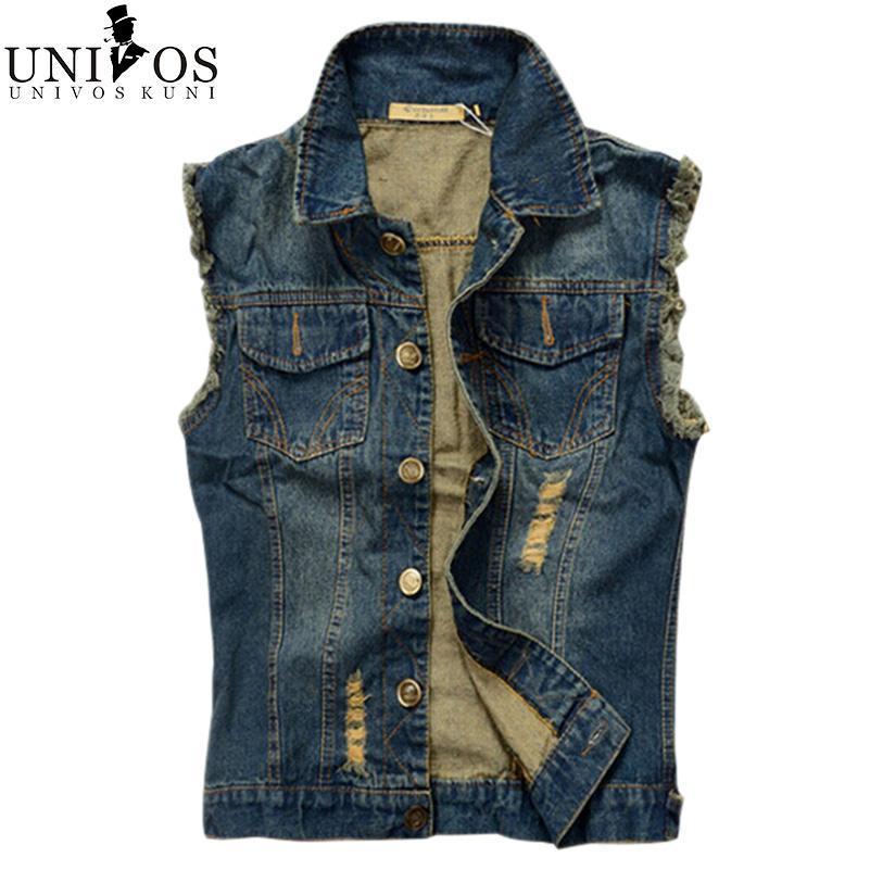 Gros- Mens Denim Vest 2016 New Brand Jeans Gilets Hommes Slim Fit manches Veste Taille Plus 6XL Patchwork Waistcoat Gliet hommes Z1655