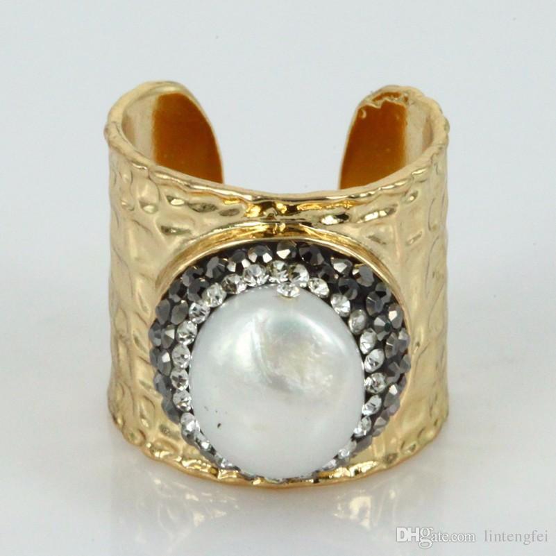 Naturel grand perle druzy doigt anneaux naturel perle anneaux pave strass handcrafted gems anneau mode bijoux