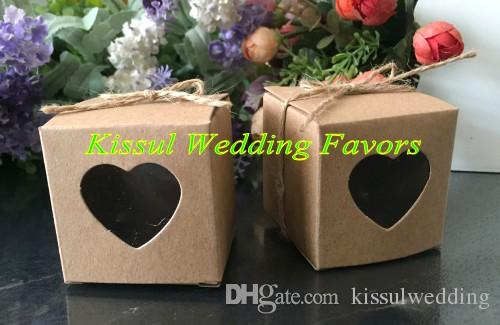 (300 Pieces/lot) Wedding Cake Gift box with PVC window of Kraft Love heart Party Favor box For Wedding and Party Gifts