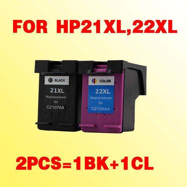 HP 21 21xl 22 22xl Dsekjet D1360 / D1460 / D2360 / D2460 / 3920/3940 / F370 / F380 / F2120 için uyumlu hp21 mürekkep kartuşu için 2x