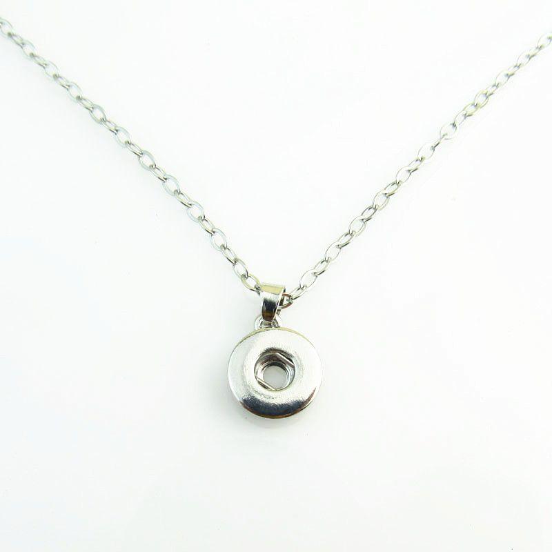 Collana con bottone a pressione da 18 mm, 10 pezzi, ciondolo a scatto in argento per gioielli a scatto fai da te