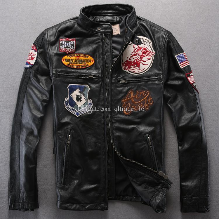 100% satisfaction guarantee select for clearance huge inventory 2019 AERO RIDERRS Avirex Fly Motorcycle Genuine Leather Jackets American  Customs Stand Collar Men Jacket Sale From Qltrade_16, $292.39   DHgate.Com