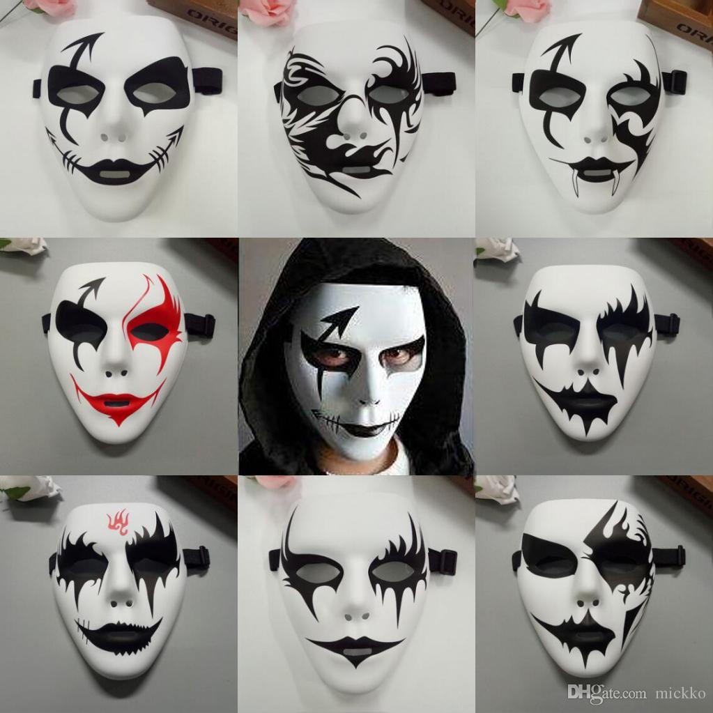 Cool Men Hand-painted Hip-hop Mask Halloween Party Full Face Masquerade Masks Men Bboy PVC Masks JabbaWo Street Dancing Face Masks
