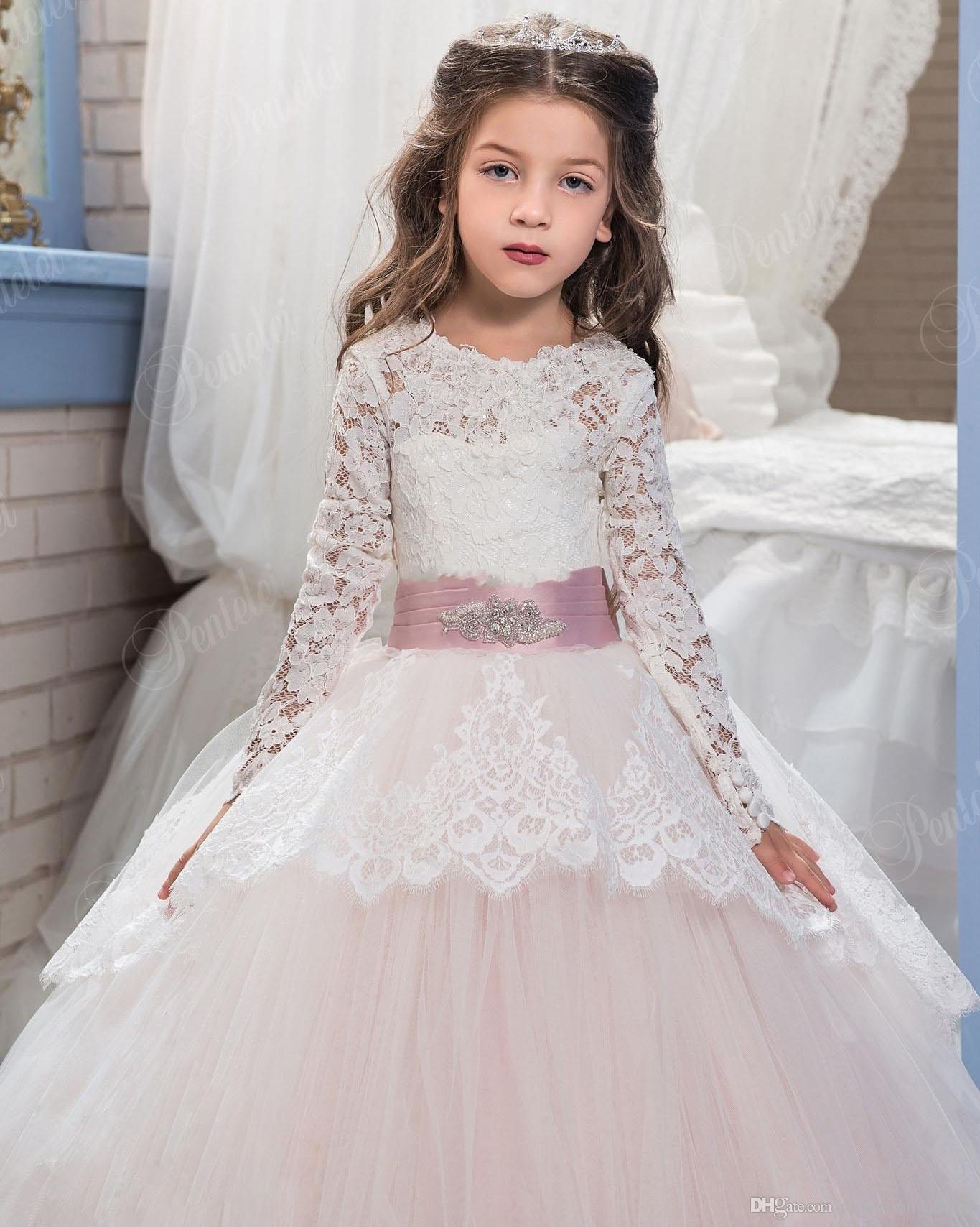 Compre 2017 Vestidos De Niña De Las Flores De Encaje Para Bodas Se Ruborizan Rosa Mangas Largas Vestido De Bola Princesa Primera Comunión Vestido