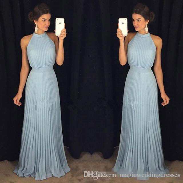 Light Sky Blue Sleeveless A Line Chiffon Prom Dresses 2018 High Neck Floor Length Pleats Ruffle Formal Evening Party Gowns Cheap BA7288