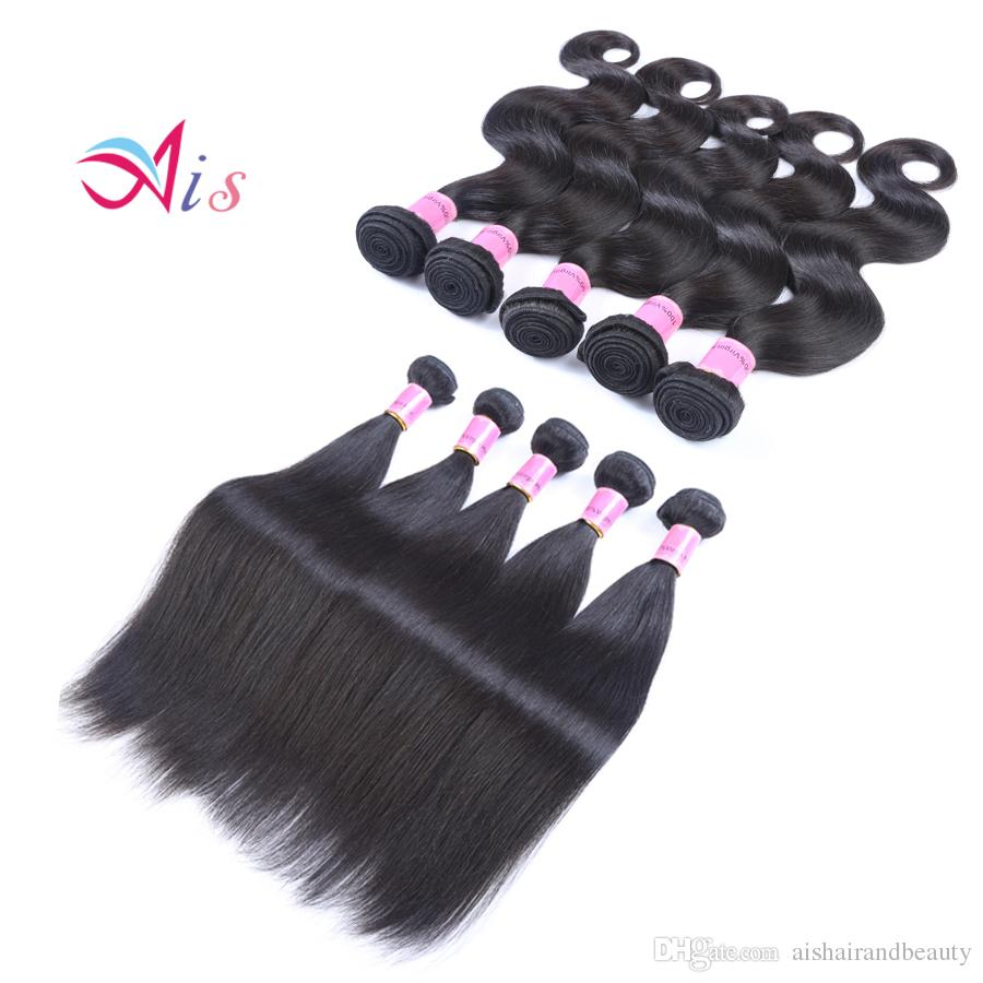 AiS Wholesale Brazilian Virgin Hair Peruvian Human Hair Weave Weaves Bundles Body Wave Straight 3 Bundles Indian For Weaves Extensions