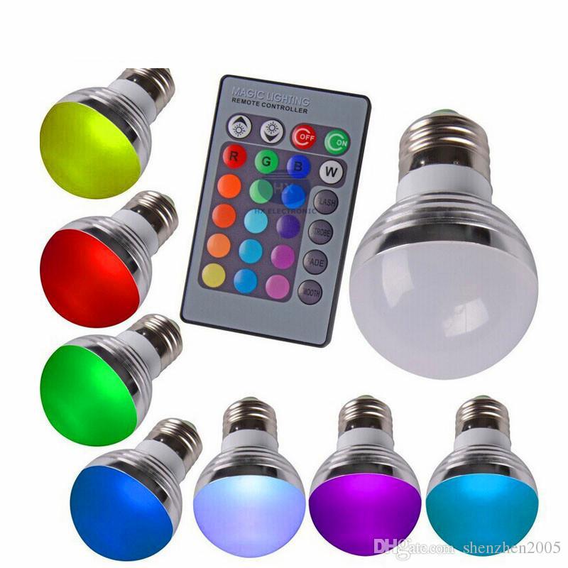 새로운 판매 E27 E14 3 와트 RGB LED 16 색 변경 램프 전구 오팔 커버 디 밍이 가능한 Led RGB 전구 + 24 키 무선 원격 컨트롤러