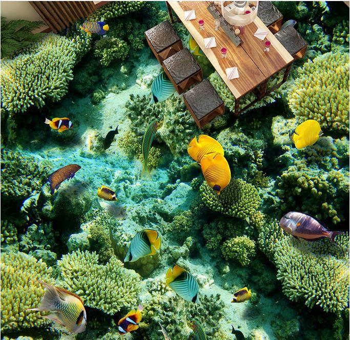 Пол 3D ПВХ водонепроницаемый самоклеющиеся обои подгонять высокое качество обои океан мир 3D полы обои