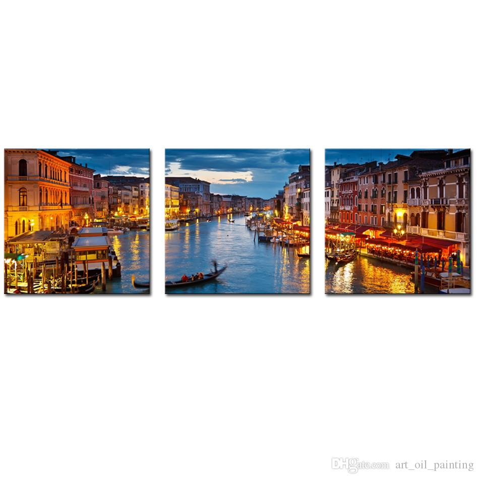 3 Picture Combination Canvas Wall Art Venice Night View Picture Prints Modern Giclee Artwork for Home Living Room Decoration No Framed
