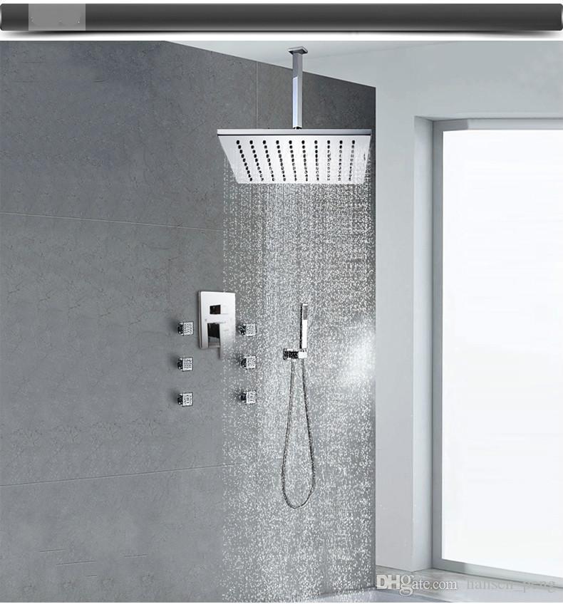 """Doccia per pioggia a soffitto in ottone da 12 """"gratuita in stile europeo con getti di massaggio laterali per agopuntura montati a muro 7029"""