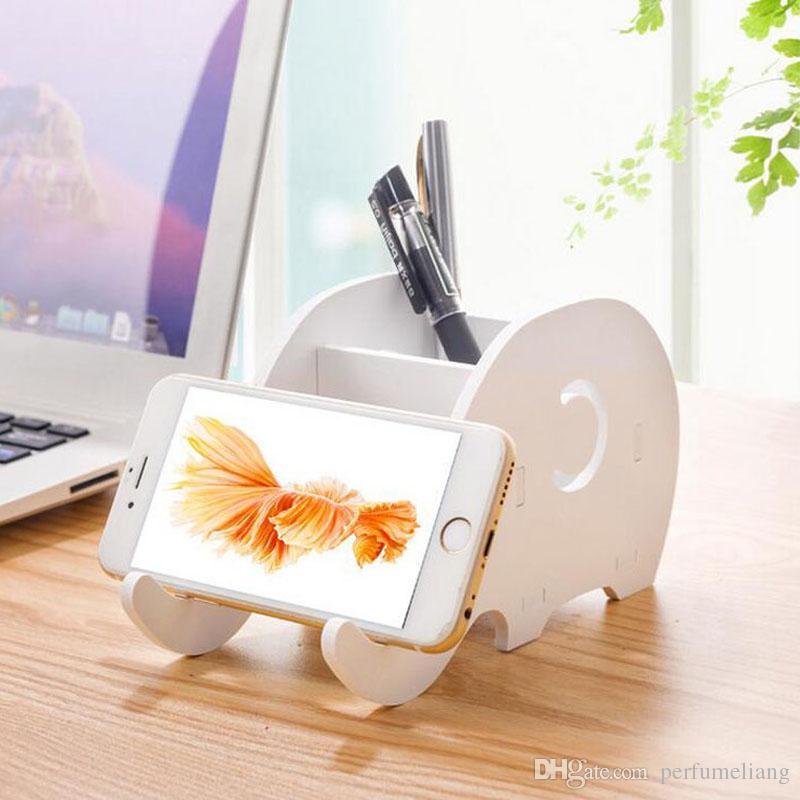 Portaoggetti da scrivania supporto della scatola della scatola di immagazzinaggio del basamento del supporto del telefono mobile della penna Organizzatore del supporto del telefono Portapenne