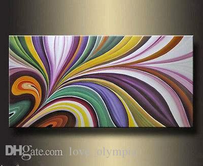 Enmarcado, envío gratis, pintado a mano de alta calidad 100% pintura al óleo sobre lienzo Inicio decoración de la pared arte pinturas abstractas modernas Multi tamaño R071 #