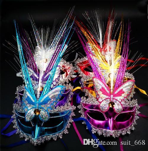 새로운 빛나는 플래시 비가 댄스 공연 나비 마스크 할로윈 마스크 도매 무료 배송