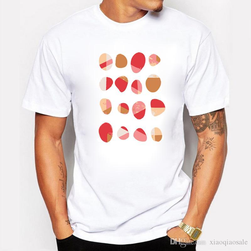 O Projeto Original Moda Homens Colorido oval Impresso Crewneck Tops de Manga Curta Pulôver criativo T Shirt