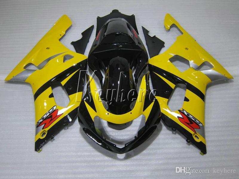 Kit de carénage pour Suzuki GSXR600 01 02 03 Jaune Black Farénings Ensemble GSXR750 2001 2002 2003 OI01