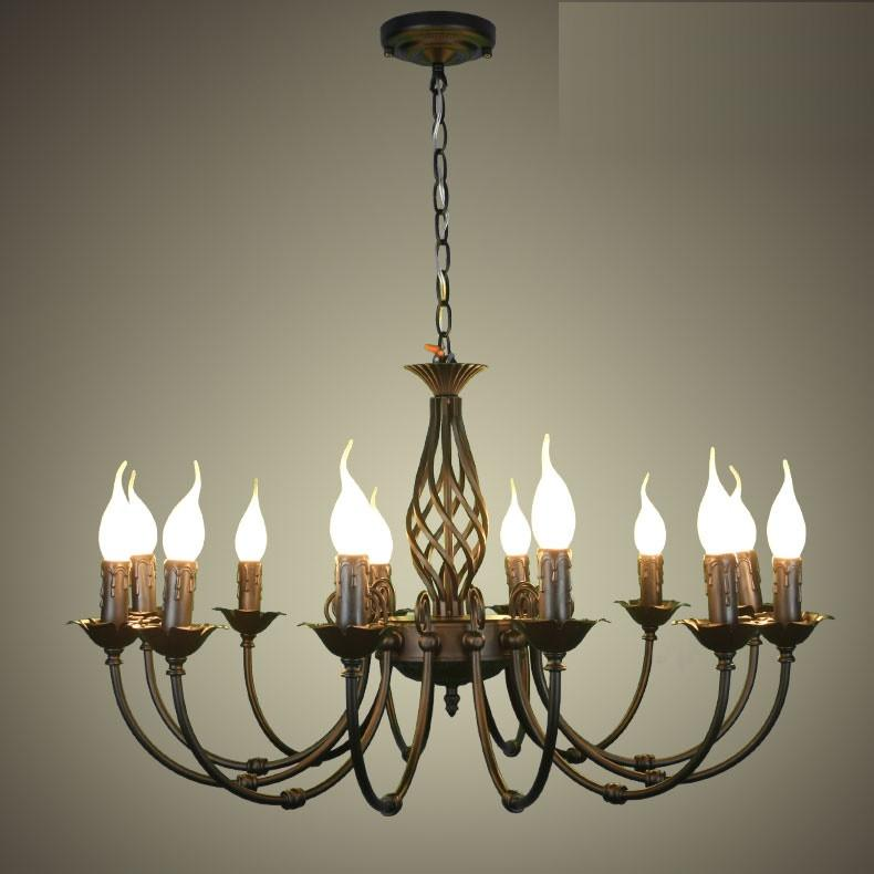 European chandeliers wrought iron complex classical bedroom lighting fixture lamp minimalist 110-240V Black / white / Bronze