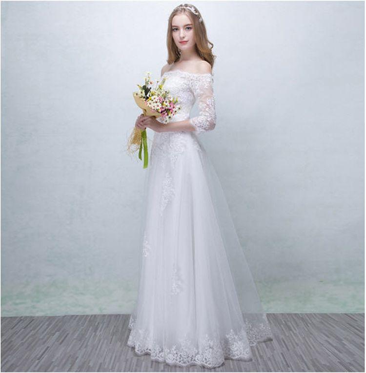 Discount Simple Lace Wedding Dress On Christmas 3/4 Sleeve Floor ...