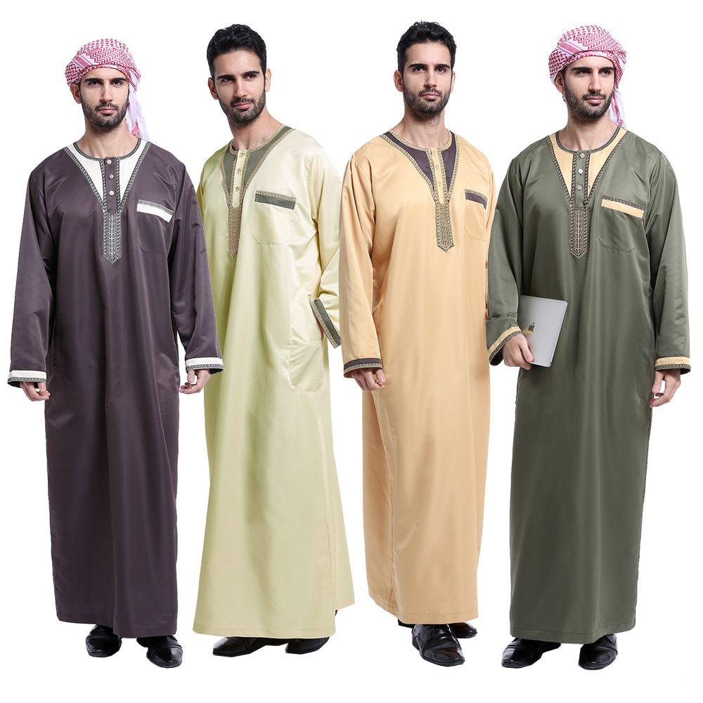 Large Size Arab Muslim Clothing for Men Thobe Arabic Islamic Abayas Dress Indian Mens Kaftan Robe Men XXL XXXL Plus Size Clothes