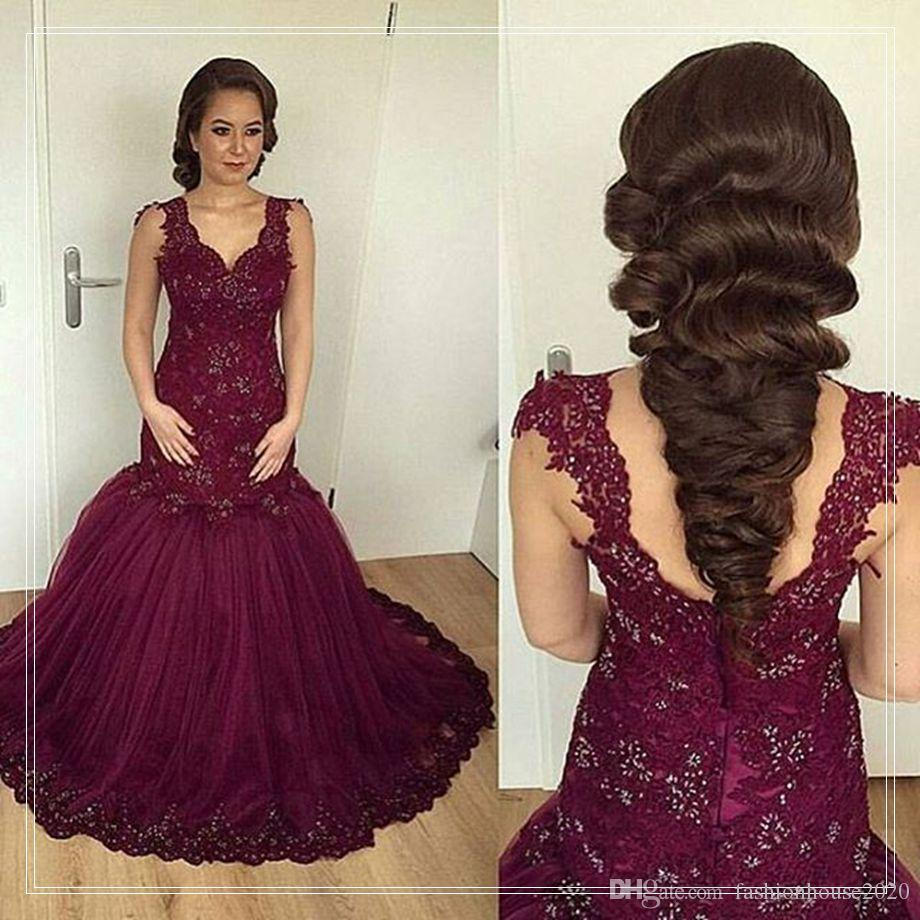 Arabic Style Burgundy Lace Mermaid Wedding Dresses 2017 Cap Sleeve Applique Crystal Wedding Dress Bridal Gowns Vestidos de fiesta