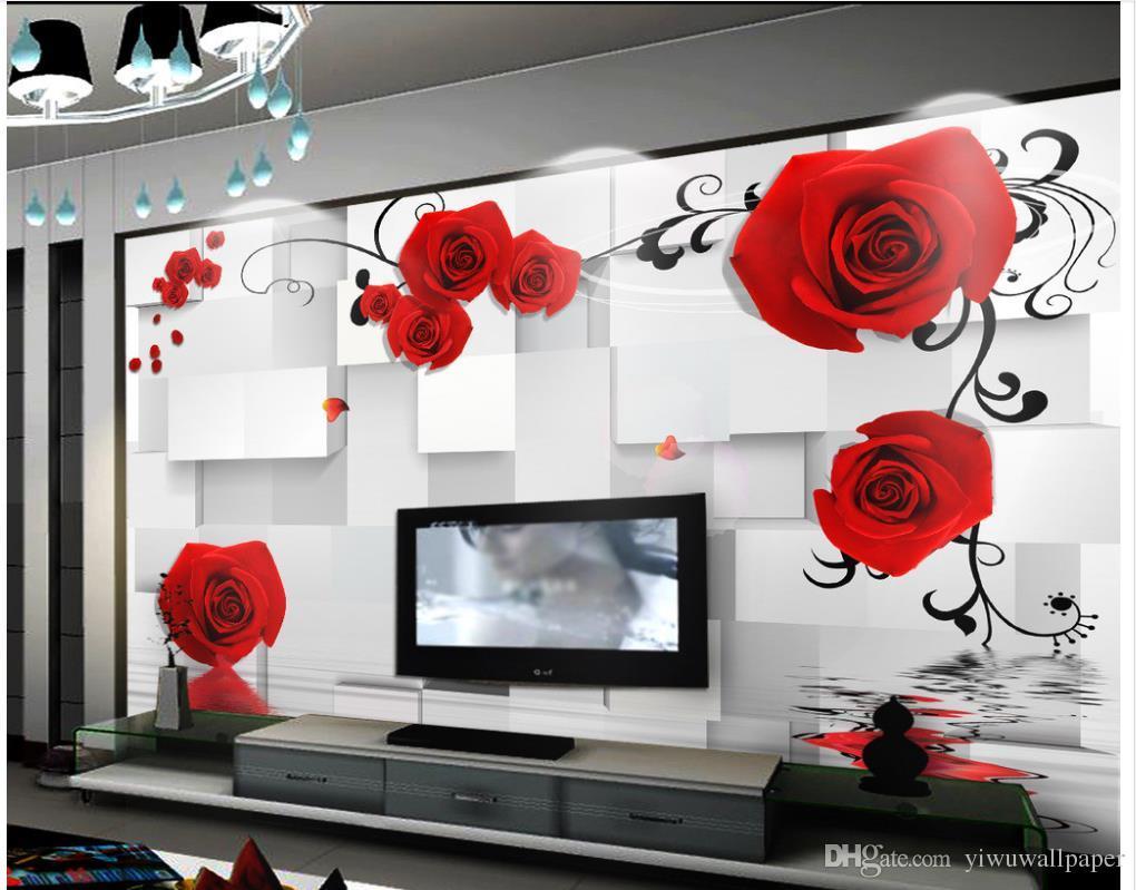 carta da parati classica per pareti carta da parati personalizzata 3d Carta da parati 3d del bagno della scatola di contesto stereoscopica romantica della rosa 3D