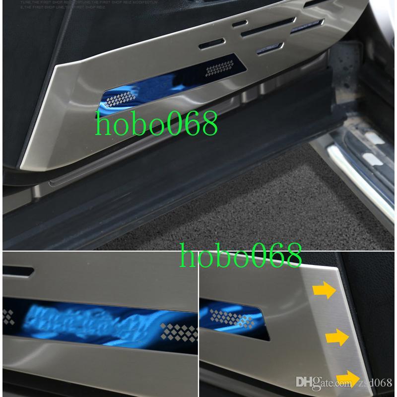 1SET 4PCS السيارات غير القابل للصدأ الباب الصلب الداخلية ركلة غطاء حماية مع LOGO لتويوتا RAV4 2016-17 DIY
