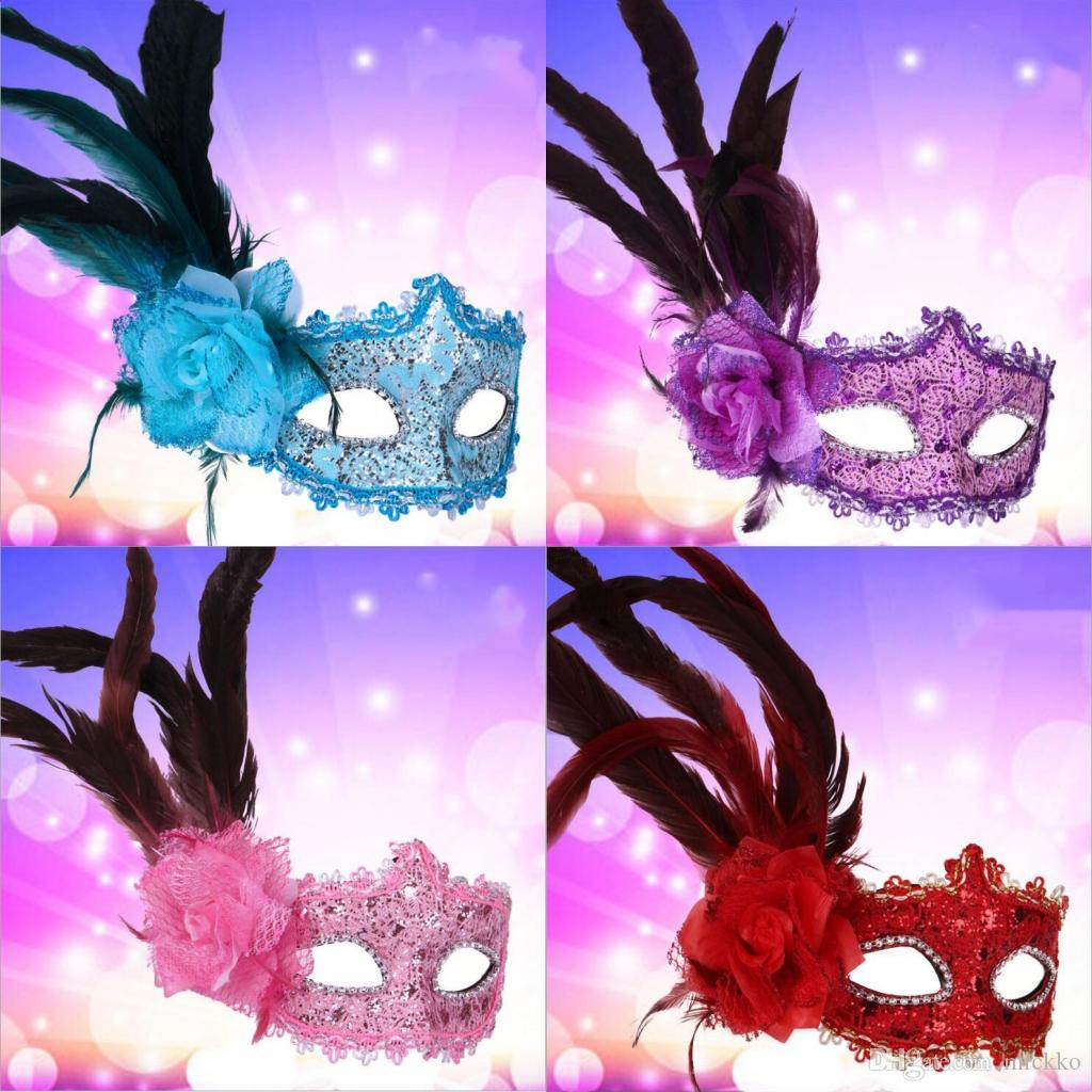 Kadın Tüy Venedik Masquerade Topu Maskeleri Yüksek dereceli Yan Çiçek Cadılar Bayramı Yüz Maskeleri OPP TORBA Paketi Kadınlar için Her Moda Parti Maskeleri