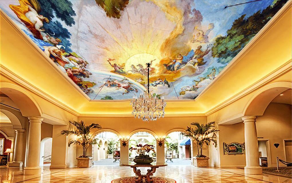 3D 천장 벽화 벽지 사용자 정의 벽지 벽지 천장에 대한 유럽 돔 3D 벽지 거실