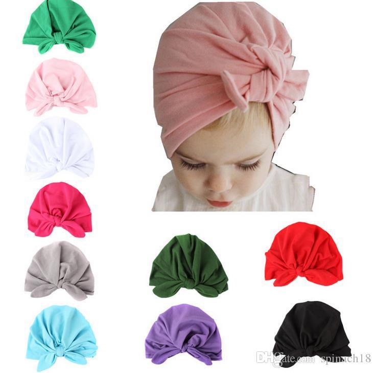 Ins Baby Bow Hat Bunny Ear Caps Europa Estilo Turbante Nudo Headwrap Sombreros Niñas Infantil India Sombreros Niños Otoño Invierno Beanie