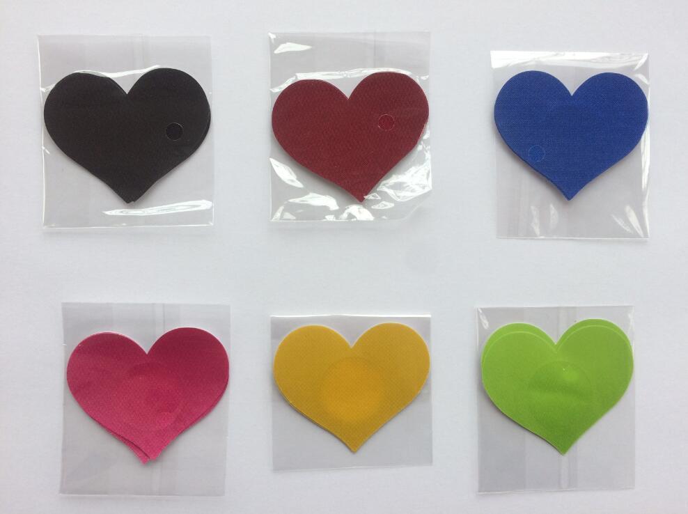 5.8 cm * 4.8 cm forma de coração de Segurança e proteção ambiental mamilo abrange mamilo adesivo de mama pad 6 CORES