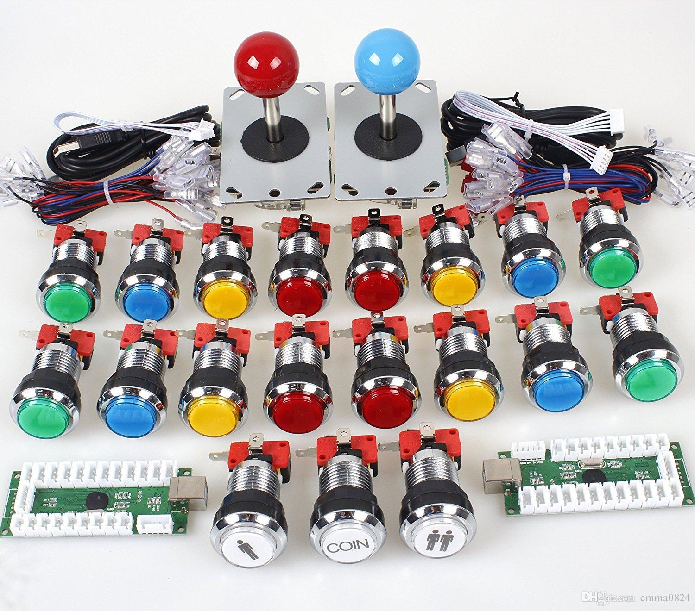 Clássico Concurso de Arcade DIY Retropie Cabinet Kits USB Codificador para Joystick Jogos de PC + Cromagem LED Iluminado Botão 1 2 Jogador