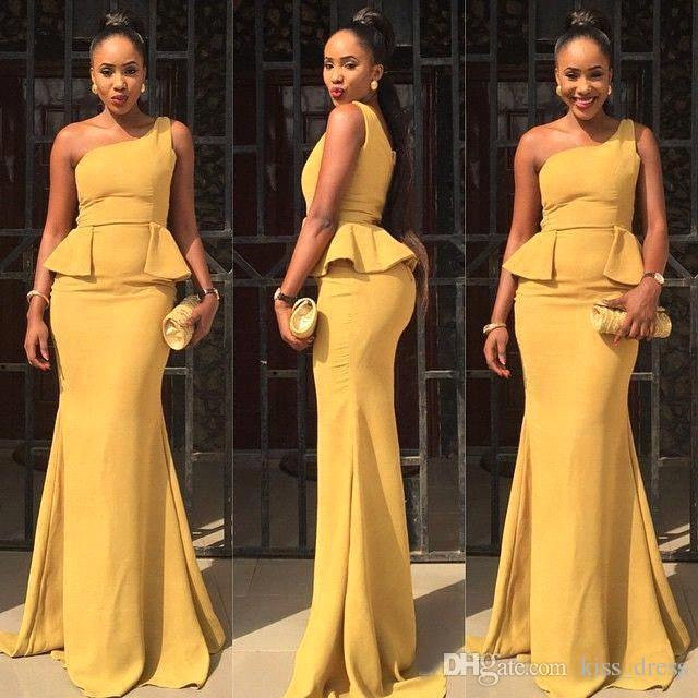 Abiti da sera a sirena con una spalla Stile africano Sweep Train Pieghe Abiti da ballo in taffetà giallo Vestido de Festa 2019 Vendite calde E248