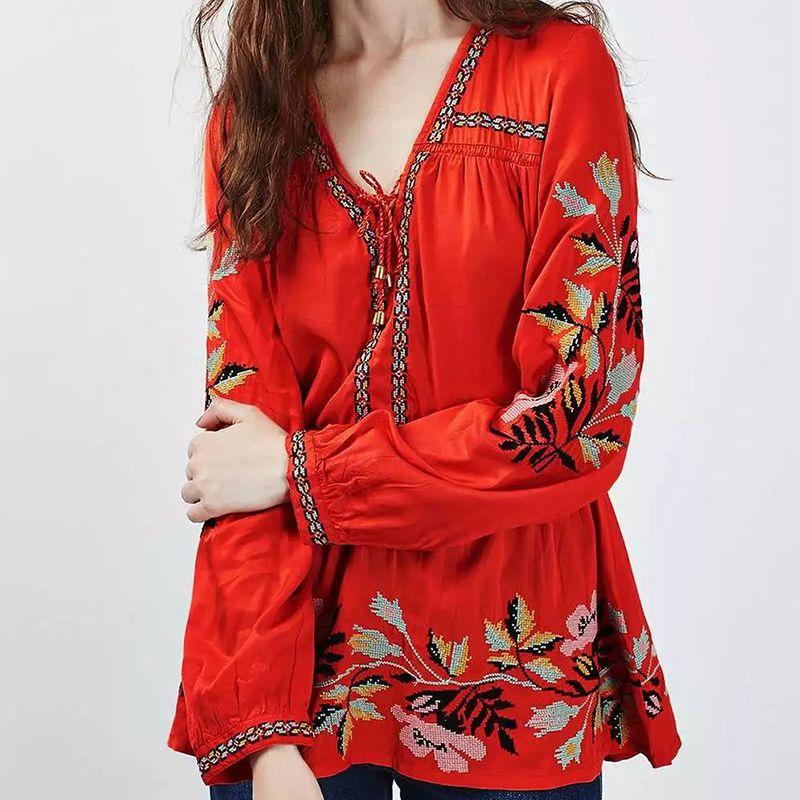 Hot new fashion red 2019 Peplo Ricamo Top Donna Camicetta Sexy Lace Up V Neck Manica Lunga Tunica Rosso Camicie Marca Top Plus Size