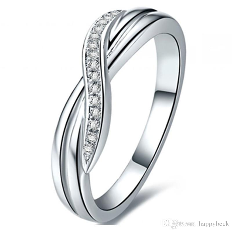 Lovely Style Synthetic Diamond Wedding Band Ring for Women White Gold Plate Jewelry Perfect Propose Fine Jewelry For Girl