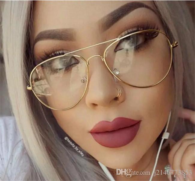 nuevo estilo 57ce5 b6e95 Compre Clásico Claro Lente Mujeres Hombres Espejo Gafas De Sol Diseñador De  La Marca Moda Óptica Lentes Transparentes Gafas De Sol Vintage Barato A ...