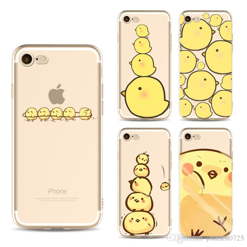 For iphone 7 case cartoon cute yellow chick TPU painting phone cases ultra thin silicone back protective cover shell for iphone 6S 7 Plus 5S
