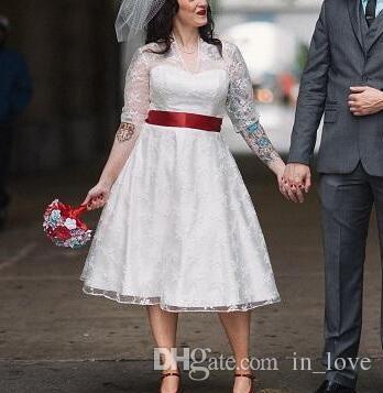 Discount 1950s Vintage Short Lace Plus Size Wedding Dresses Half Sleeve V Neck Red Belt A Line Tea Length Bridal Gowns Custom Size Bride Gowns Brides Dress From In Love 73 05 Dhgate Com
