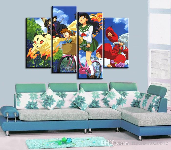 4pcs/set Wall Art Picture:Japanese Anime Inuyasha Drop Bike Spray Painting on Canvas Unframed Landscape Print Wholesale Home Decoration
