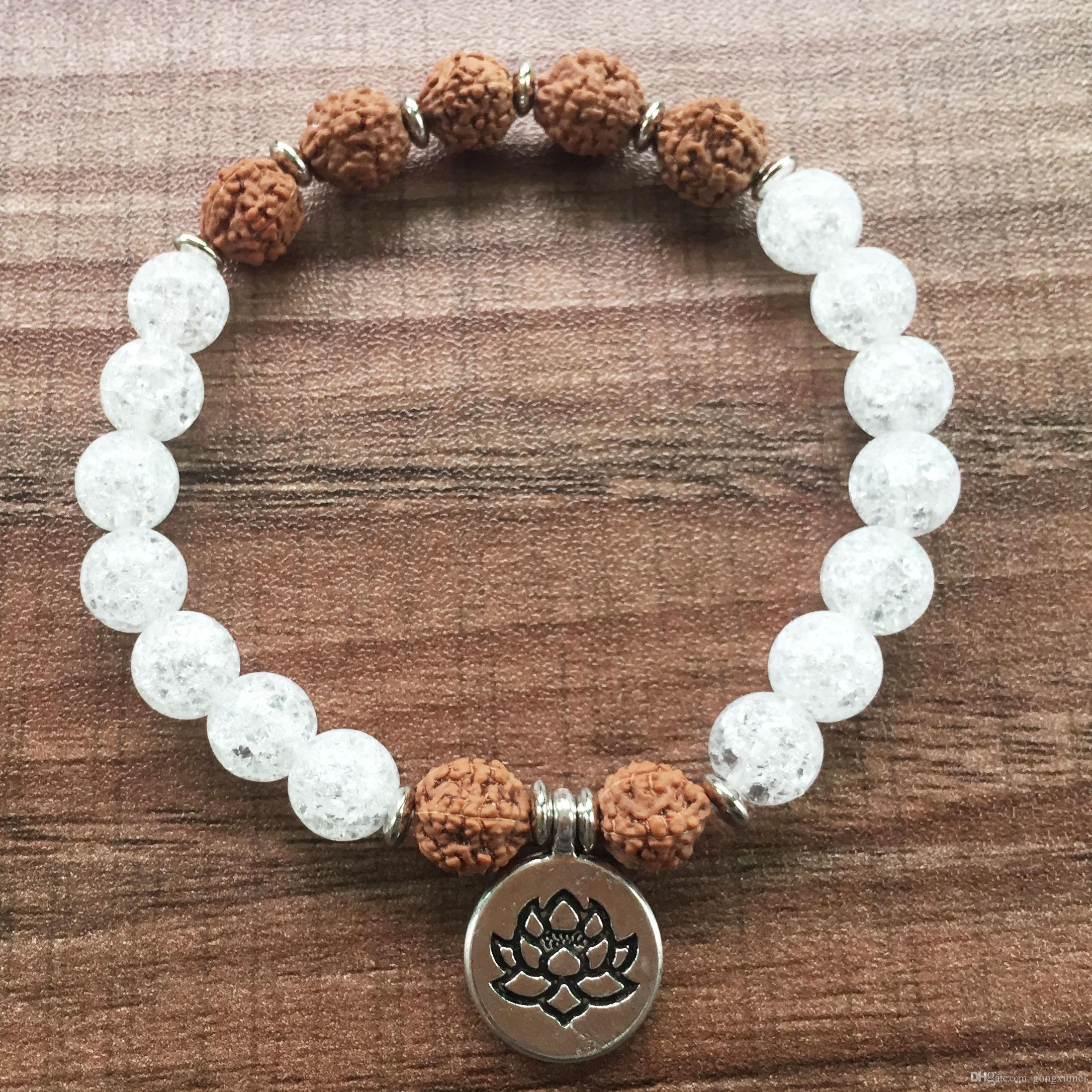 Мала бусины браслет женщины 8 мм белый кристалл браслет Лотос кулон бусины браслеты Бодхи браслеты йога молитва
